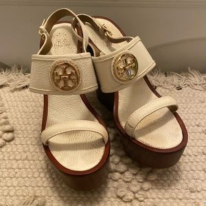 White Tory Burch Wooden Wedges
